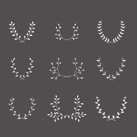 mariage: Hand-drawn silhouettes brackets branches graphic design elements set Useful for wedding invitations, congratulations and greeting cards.