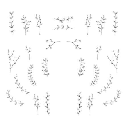 Handgetekende takken grafisch ontwerp elementen instellen. Nuttig voor bruiloft uitnodigingen, felicitaties en wenskaarten.
