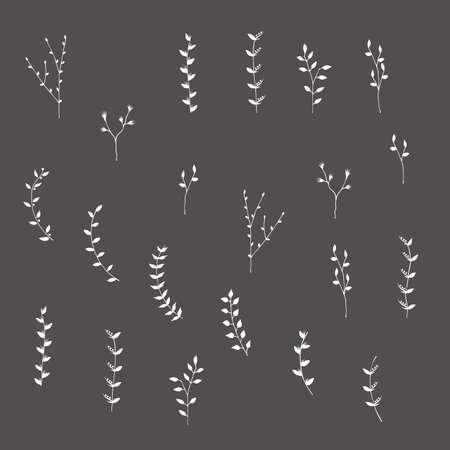Hand getekende silhouetten takken grafisch ontwerp elementen. Nuttig voor bruiloft uitnodigingen, felicitaties en wenskaarten. Stock Illustratie
