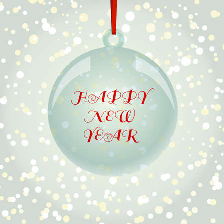 newyear: NewYear and Christmas decorative vector elements and background. Glass ball with red ribbon hanging on snowflakes background.
