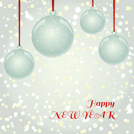 newyear: NewYear and Christmas decorative vector elements and background. Glass balls with red ribbon hanging on snowflakes background.