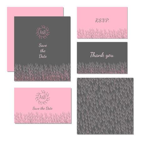 mariage: Wedding stationery design set vector