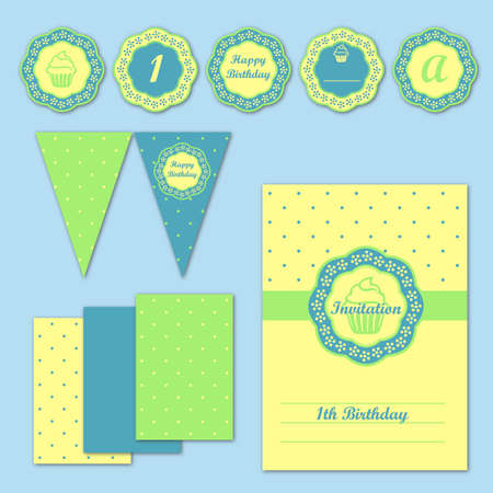 stationery set: Children party decoration stationery set vector