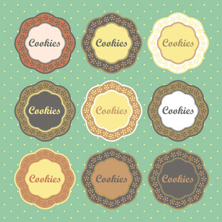 쿠키 복고 스타일 컬렉션 벡터 레이블