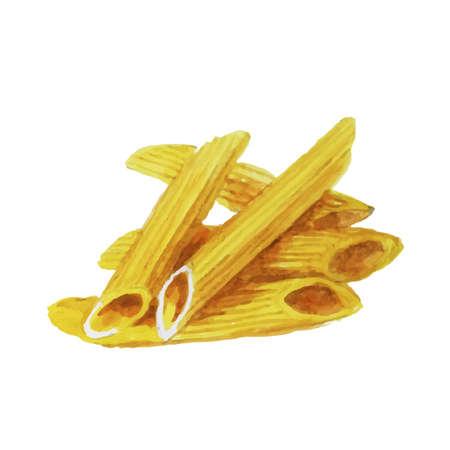 Aquarel pasta geïsoleerd op witte achtergrond