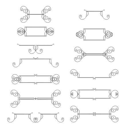 Handgjorda vintage kalligrafiska designelement sätta vektor. Användbar för  bröllopsinbjudningar 903ebae1fde58