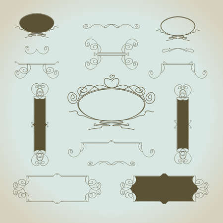 stationery border: Hand-drawn vintage calligraphic  design elements set vector. Useful for wedding invitations, greatings cards etc.