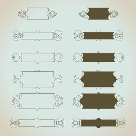 손으로 그린 빈티지 붓글씨 디자인 요소를 벡터 설정합니다. 청첩장, greatings 카드 등에 유용합니다. 일러스트