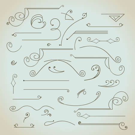 antique art: Hand-drawn vintage calligraphic  design elements set vector. Useful for wedding invitations, greatings cards etc.