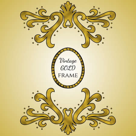 Vector vintage frame with ornament. Retro invitation, greeting card template made with gold texture
