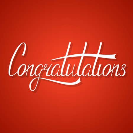 Hand written congratulation lettering