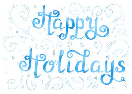 holidays: happy holidays gold Illustration