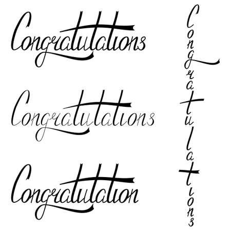 Hand drawn congratulations lettering. Illustration