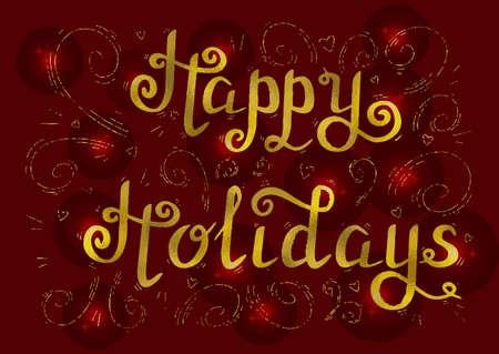 holidays: happy holidays gold Stock Photo