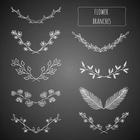 palm wreath: Hand drawn floral set made in vector. Flower branches collection design. Illustration of laurels, banners, floral elements, tribal and ethnic design. Greeting card and t-shirt design template.