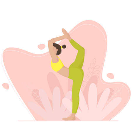 Young flexible girl performs morning exercises. Vector illustration Illustration