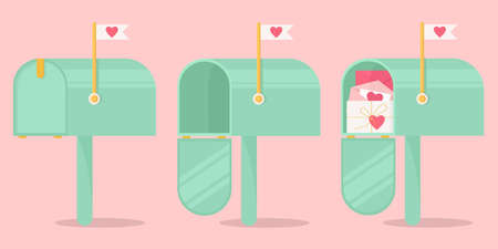 A set of mailboxes for sending Valentines. Mailboxes for sending love letters. Vector concept for Valentine's Day on pink background