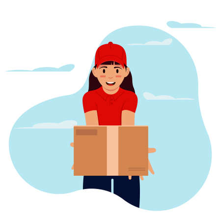 Courier girl in a red uniform delivering cardboard parcel box