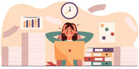 Exasperated woman in the workplace sits among a pile of papers and folders. The concept of professional burnout, overwork at work. Businesswoman with a headache. Vector illustration Vektoros illusztráció