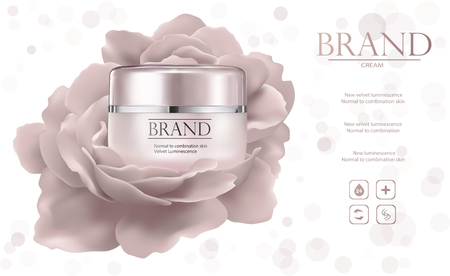 Moisturizing cosmetic products ad, light bokeh background with beautiful containers and watery texture in 3d illustration