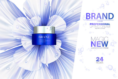 Premium cream ads. Blue graceful cosmetic ads, hydrating facial cream. 3D illustration. 向量圖像