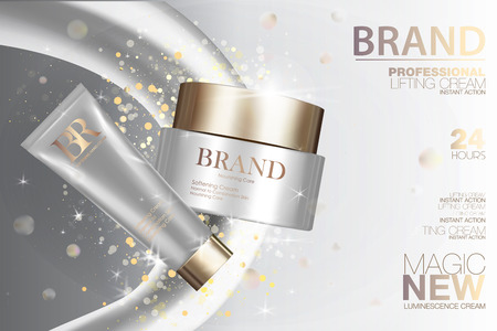 balsam: Medical cosmetic cream package set. White containers with golden caps and glitter. Makeup box ads 3d illustration design