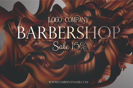 balsam: Barbershop poster promo with curly hair vector 3d illustration. Discount card at the hairdresser