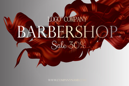 Barbershop poster promo with hair vector 3d illustration. Discount card at the hairdresser. Vektoros illusztráció