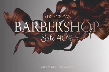 Affiche d'affiches de coiffeur avec vecteur de cheveux bouclés illustration 3d. Carte de rabais au salon de coiffure