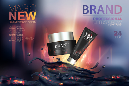 creme: Moisturizing cosmetic products ads. Vector promo sample with clay mask and creme tube in 3d design illustration. Background with a volcano and fire.