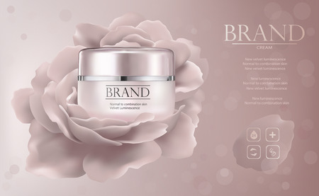 Moisturizing cosmetic products ads, Vector promo sample with creme jar and rose flower in 3d illustration.