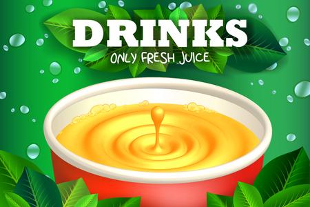 Juice drink promo poster. Liquid splash with drop menu illustration. 3D vector fruit fresh flier. Summer soft drinks label for ads