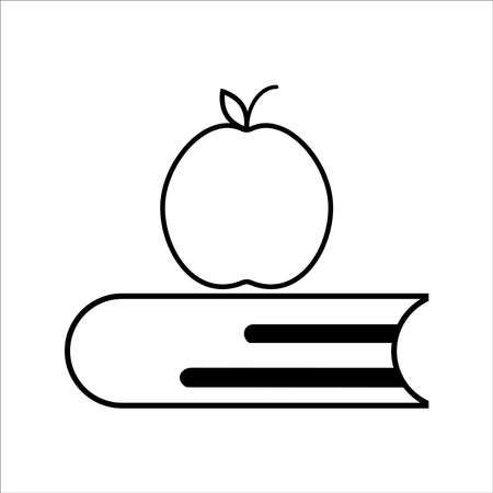 Back To School Vector Icon Illustration. Apple Fruit And Book Icon Concept White Isolated. for Web Landing Page, Banner, Sticker, Background
