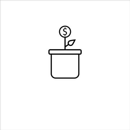 Icon of money plant in line design vector illustration