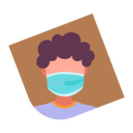 Man in medical mask on a white background. Vector illustration
