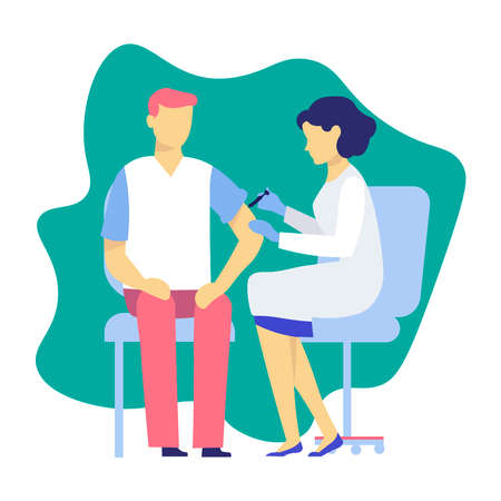Sick at the doctor's appointment. Vector illustration Illustration