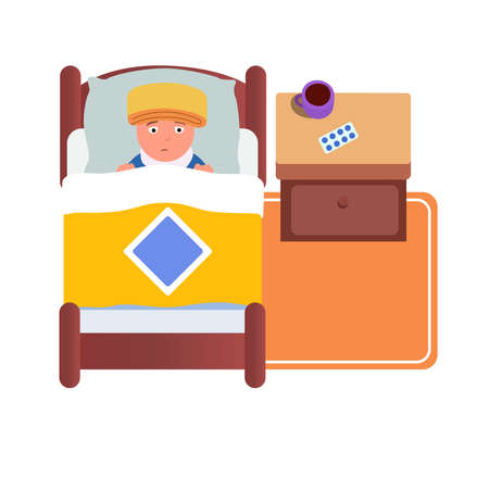 Sick boy lying in bed on a white background. Vector illustration