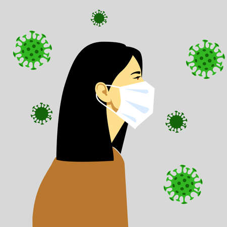 Epidemic. Virus. The masked person is protected from the virus. Vector illustration
