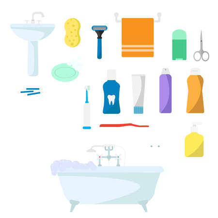 Set of hygiene products on a white background. Vector illustration Иллюстрация