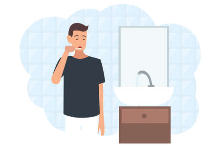 The guy cleaning his teeth in the bathroom. Vector illustration