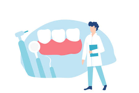 Dentist and healthy teeth. Vector illustration 向量圖像