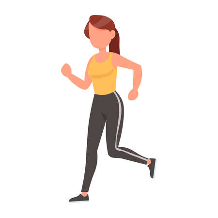 Girl doing sports on a white background. Health. Vector illustration