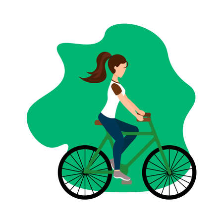 Cyclist rides a bicycle. Spring. Sport Vector illustration