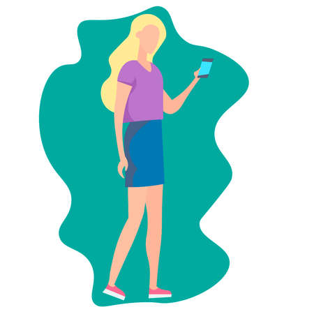 Girl with phone in hands. Vector illustration