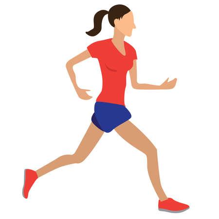 Girl running. Spring Sport Vector Vecteurs