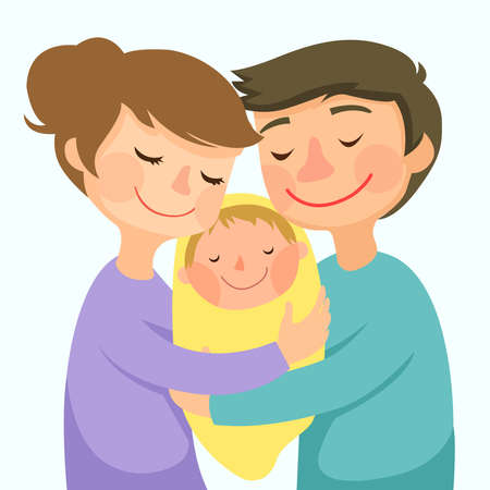 Young family with newborn baby.