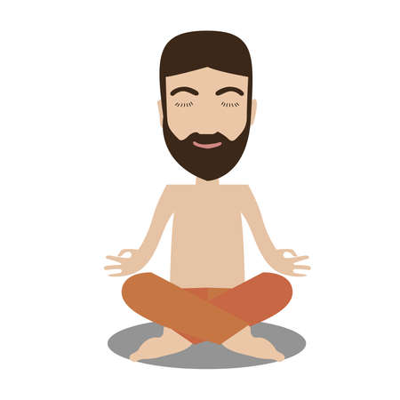 Guy doing yoga on a white background.