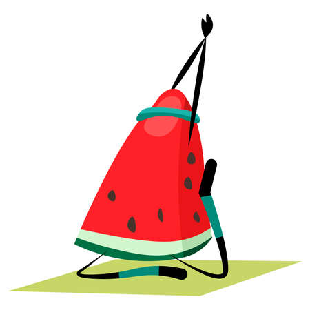 A slice of watermelon is engaged in yoga on a white background.