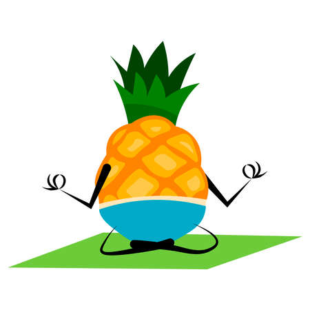 Pineapple is engaged in yoga on a white background.