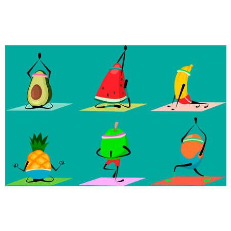 Set of yoga fruits. Vector 向量圖像
